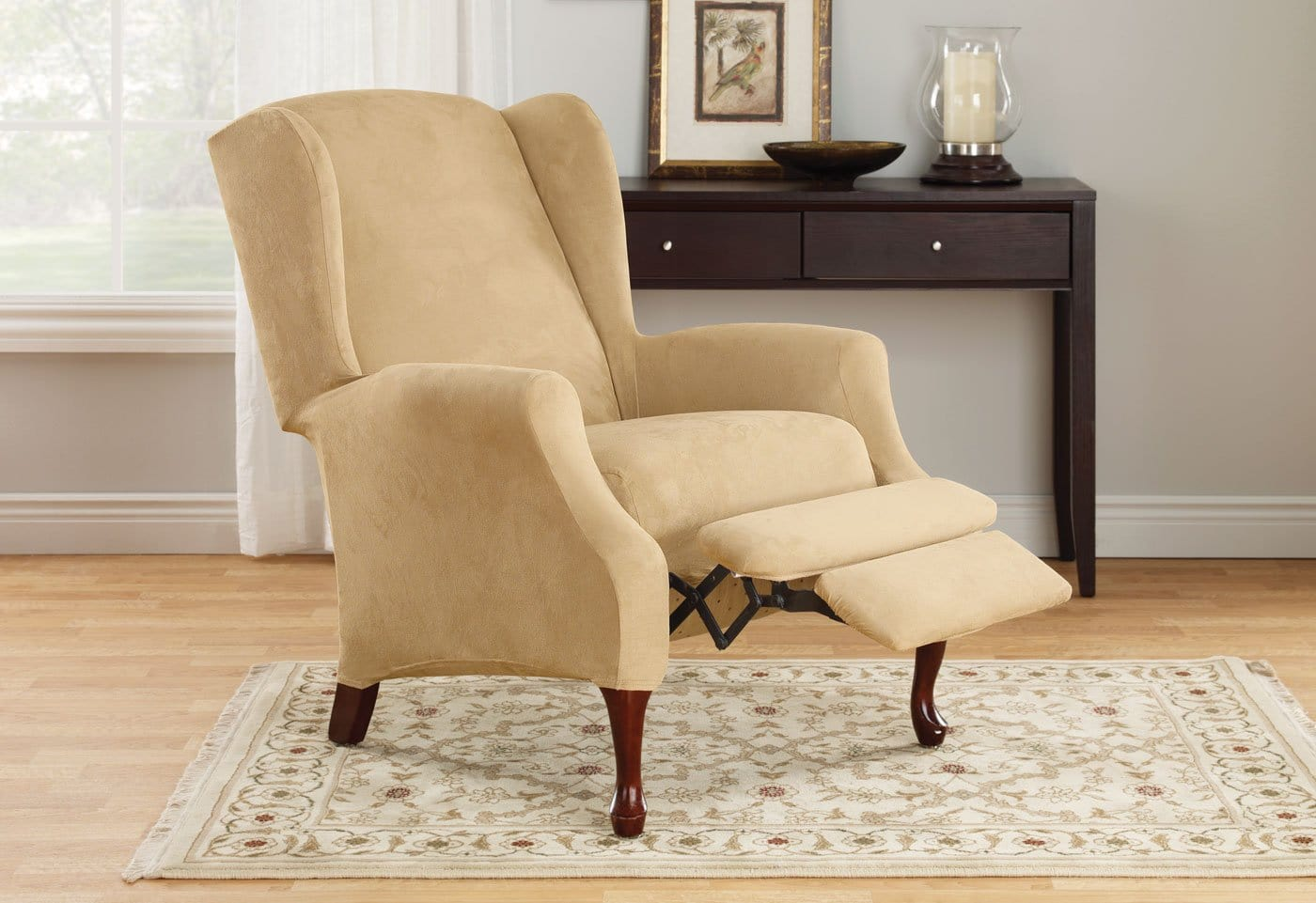 Stretch Suede Two Piece Wing Recliner Slipcover