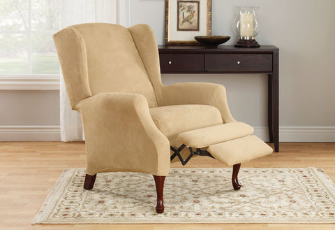 Delicieux Stretch Suede Two Piece Wing Recliner Slipcover