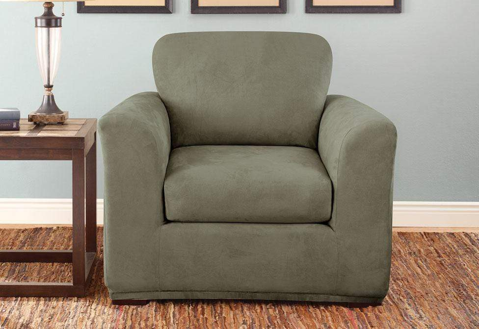 Stretch Suede Three Piece With Back Cushion Chair