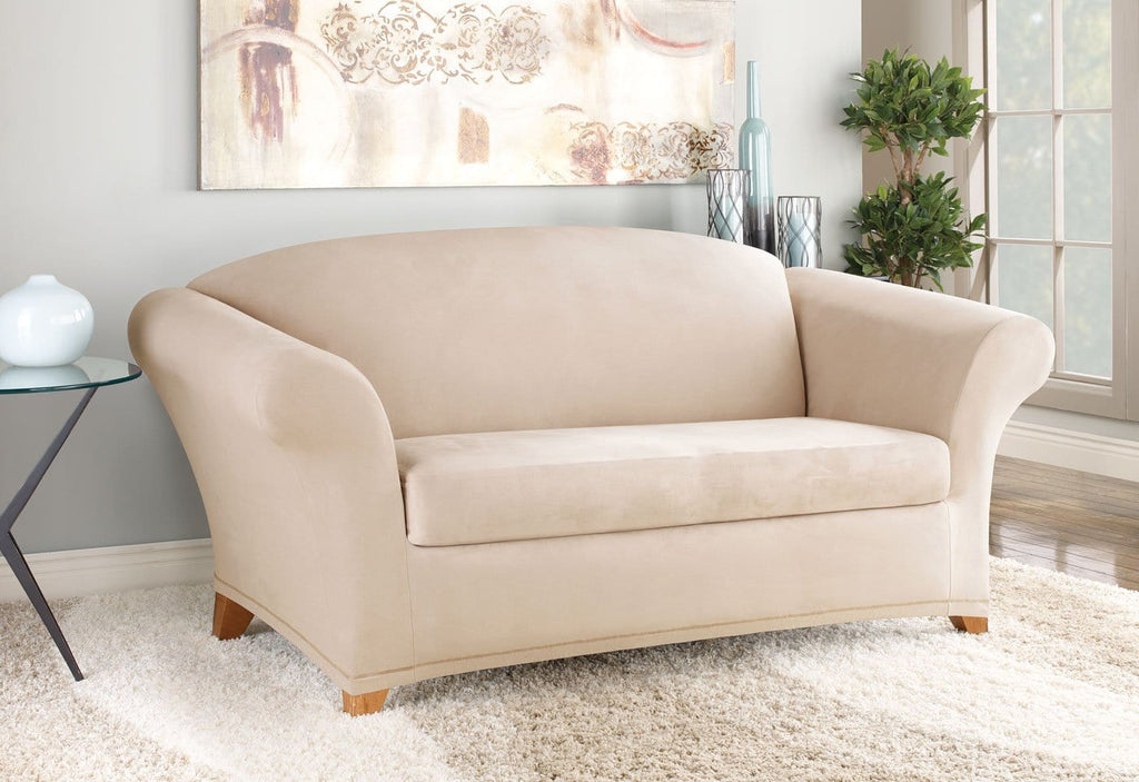 Stretch Suede Two Piece Loveseat Slipcover Surefit