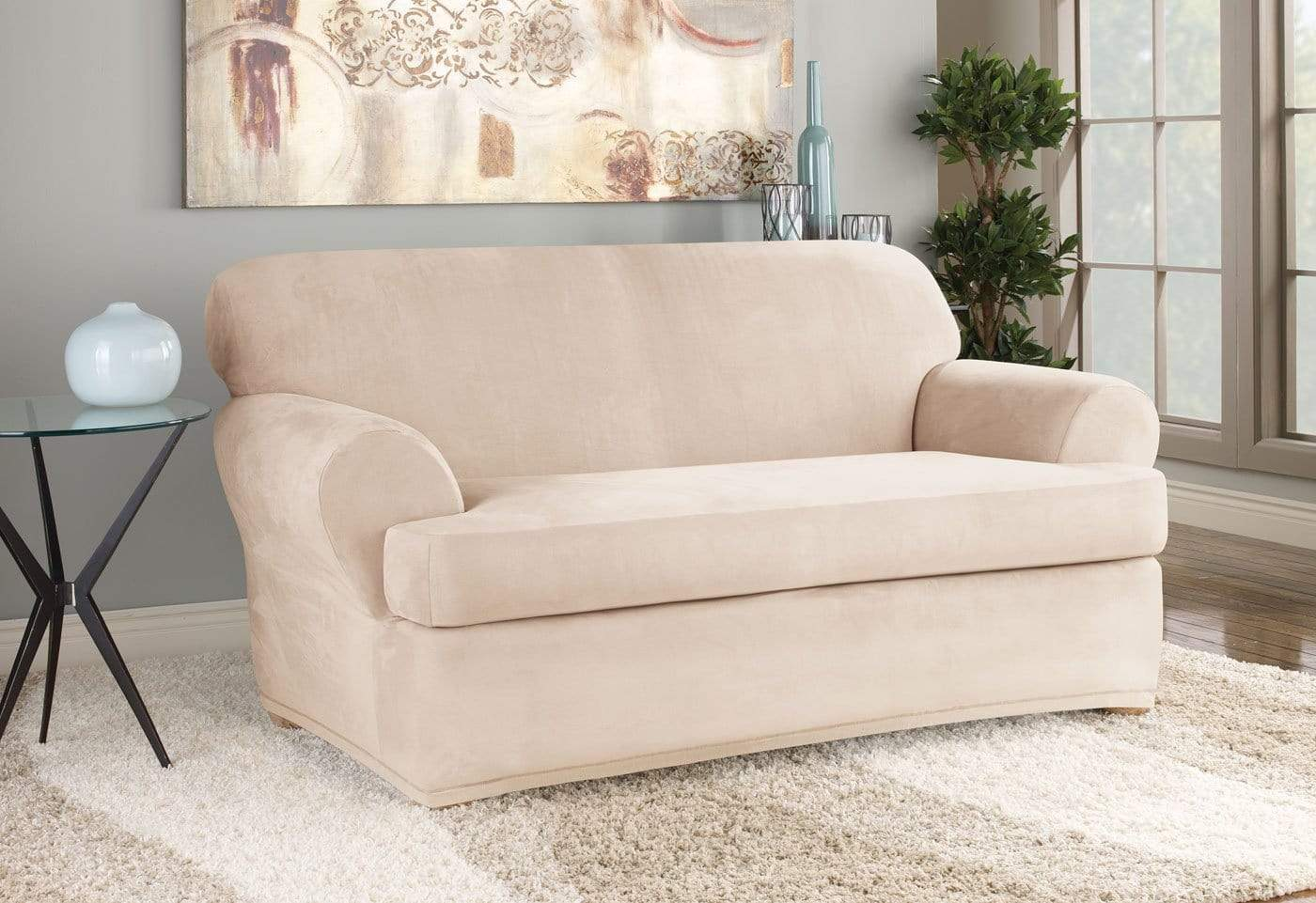 Stretch Suede Two Piece Loveseat Slipcover