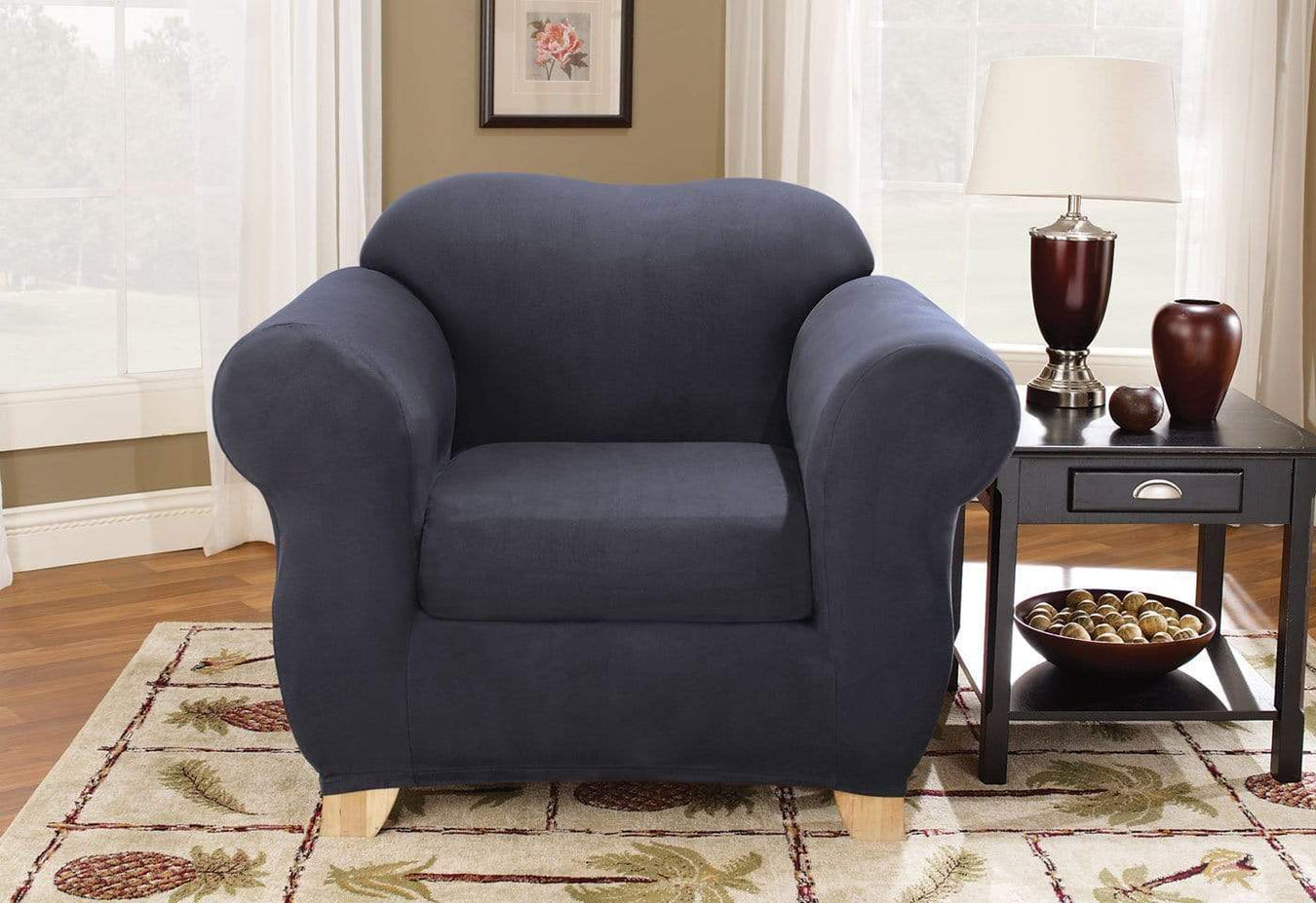 Stretch Suede Two Piece Chair Slipcover
