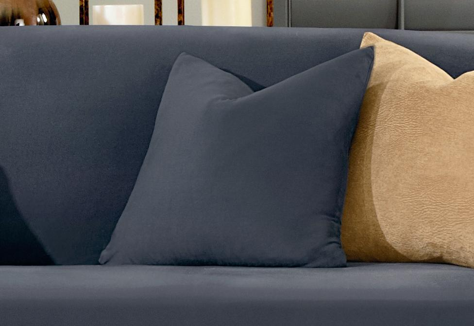 Stretch Suede 18 Inch Square Pillow Cover - 18x18 / Storm Blue