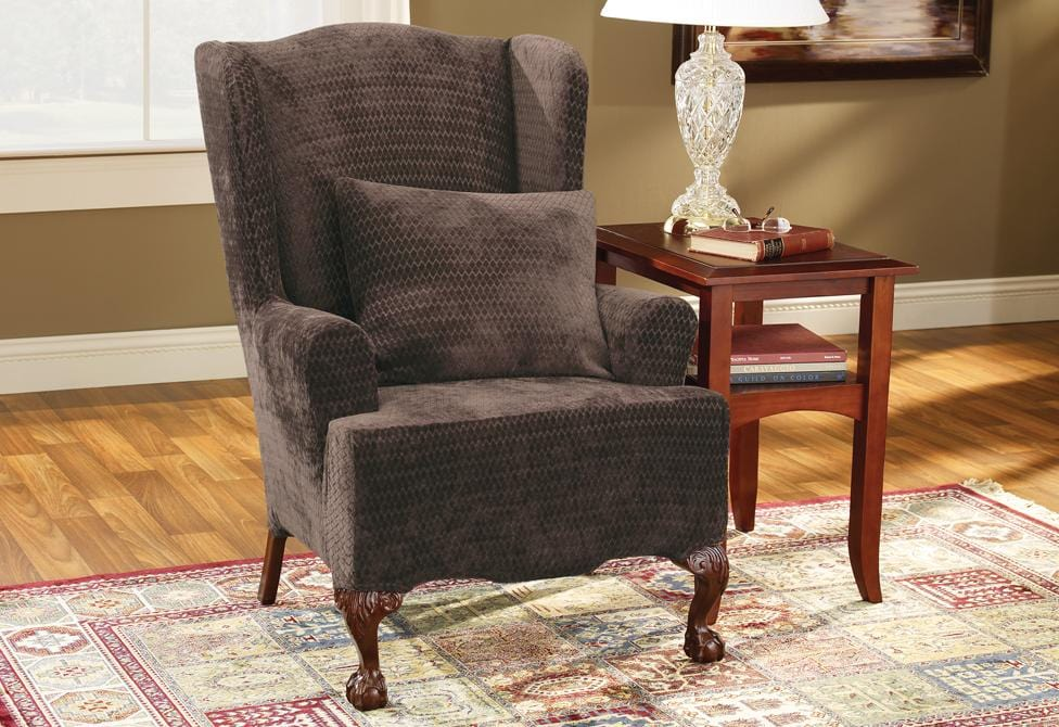 Stretch Royal Diamond One Piece Wing Chair Slipcover