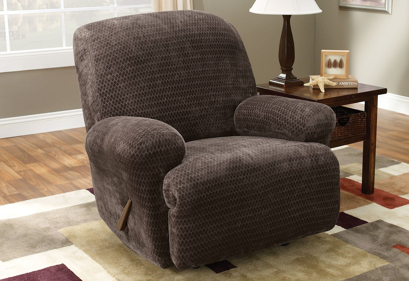 Stretch Royal Diamond One Piece Recliner Slipcover Form Fit Machine Washable - Recliner / Chocolate