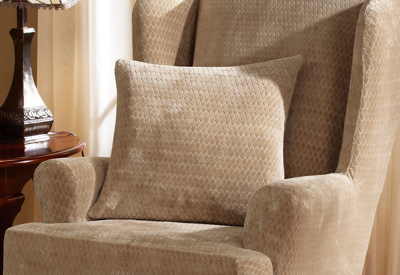 Stretch Royal Diamond 18 Inch Square Pillow Cover - 18 x 18 / Taupe