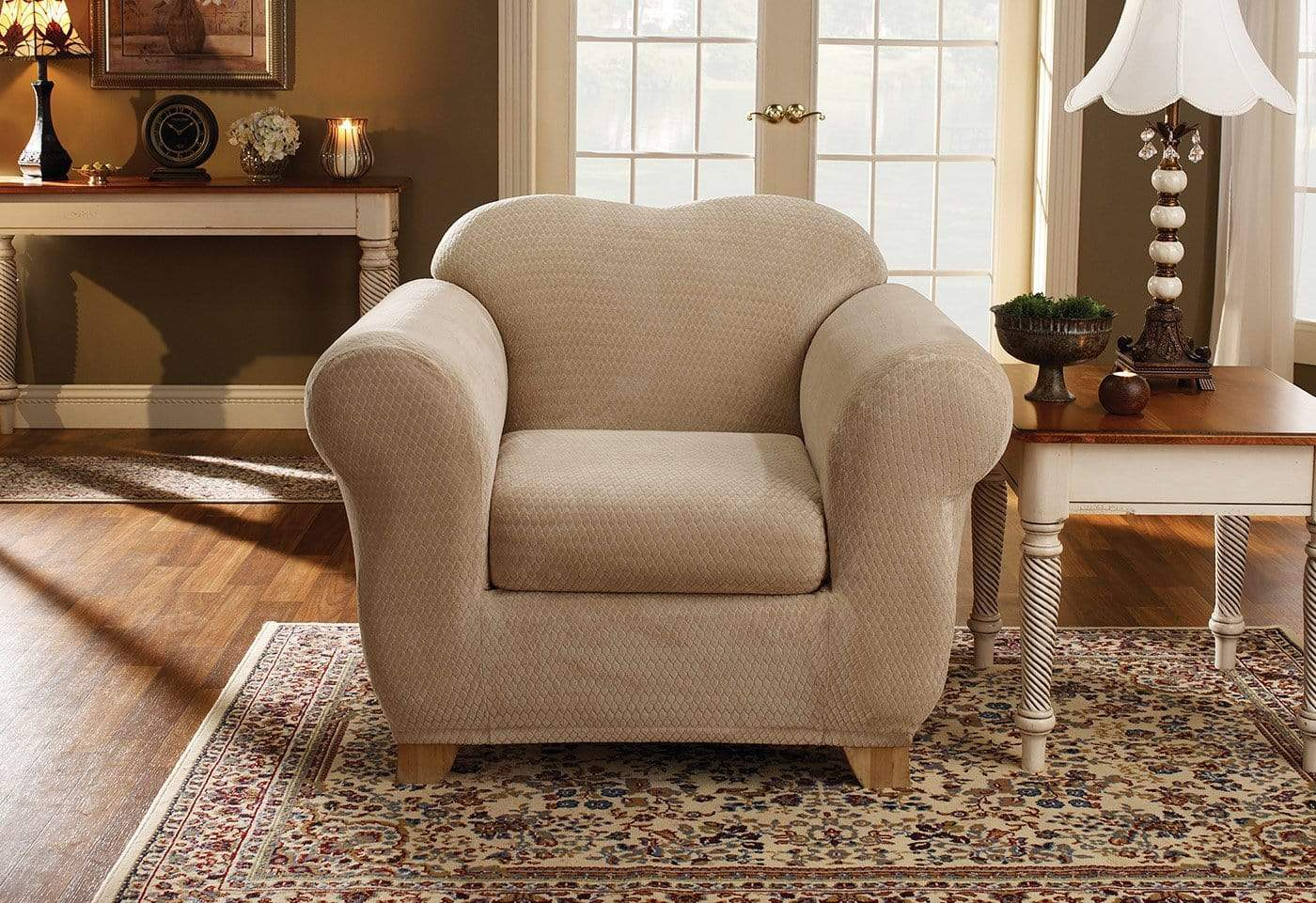 Stretch Royal Diamond Two Piece Chair Slipcover
