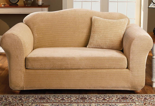 Stretch Royal Diamond Two Piece Loveseat Slipcover