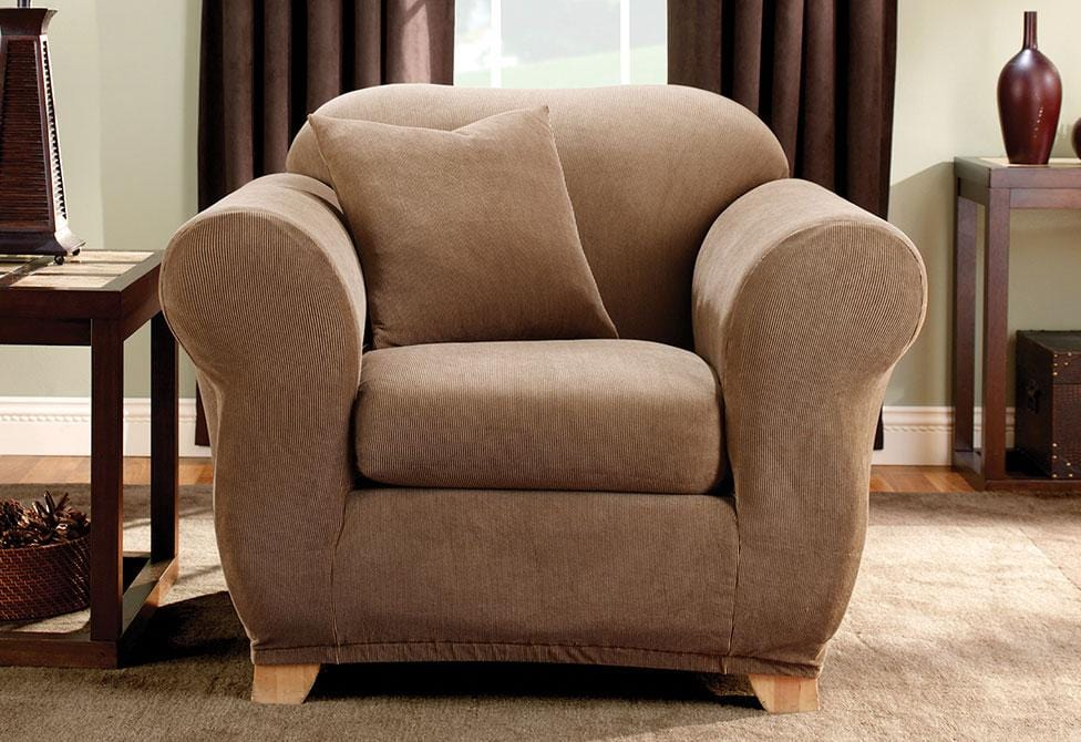 High Quality Stretch Stripe Two Piece Chair Slipcover