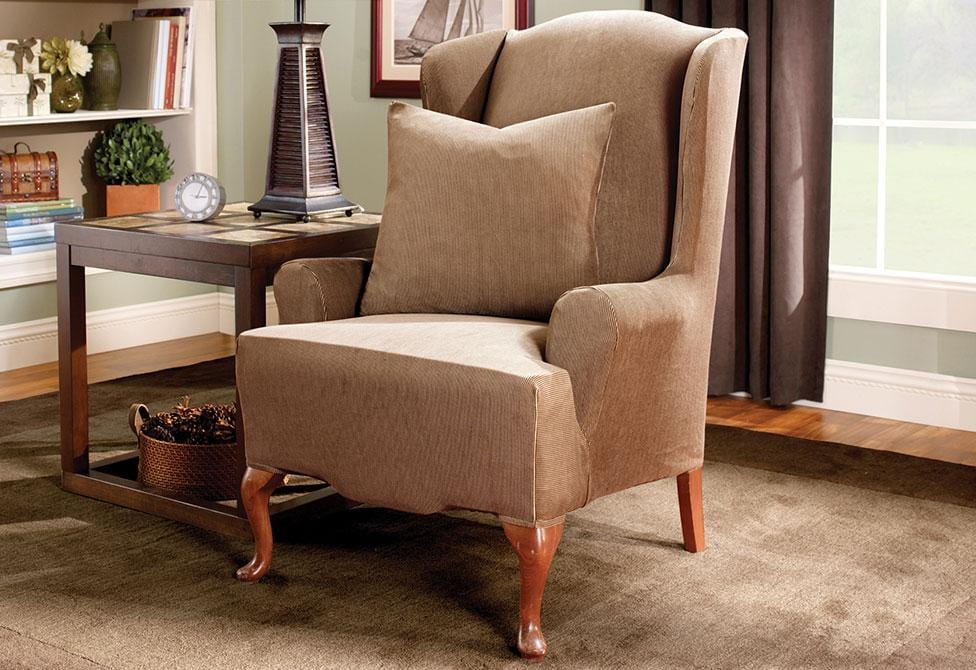Stretch Stripe One Piece Wing Chair Slipcover
