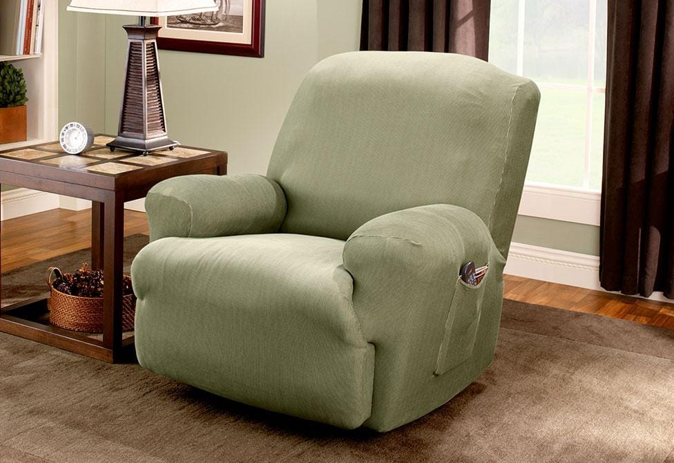 Stretch Stripe One Piece Recliner Slipcover Form Fit Machine Washable - Recliner / Sage