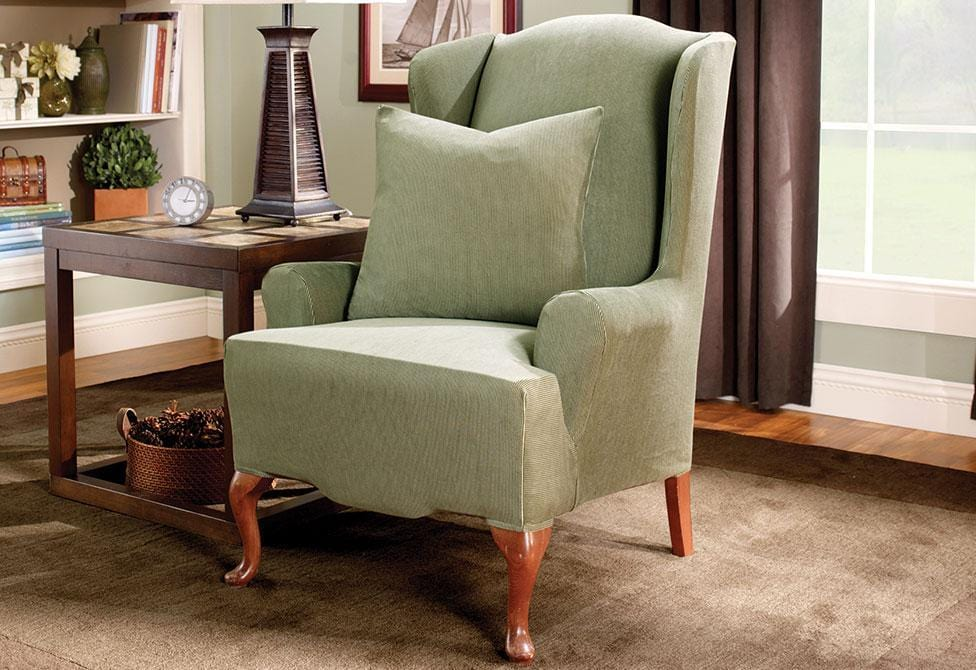 Stretch Stripe One Piece Wing Chair Slipcover Surefit