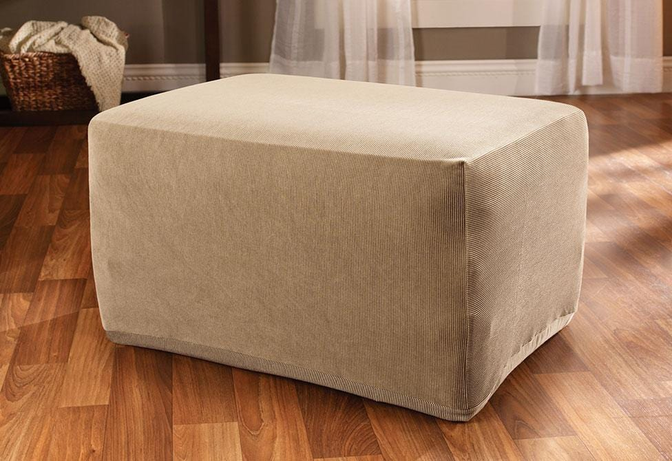 Stretch Stripe One Piece Ottoman Slipcover