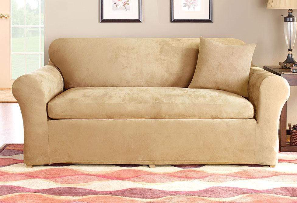 Stretch Suede Three Piece With Back Cushion Loveseat Slipcover