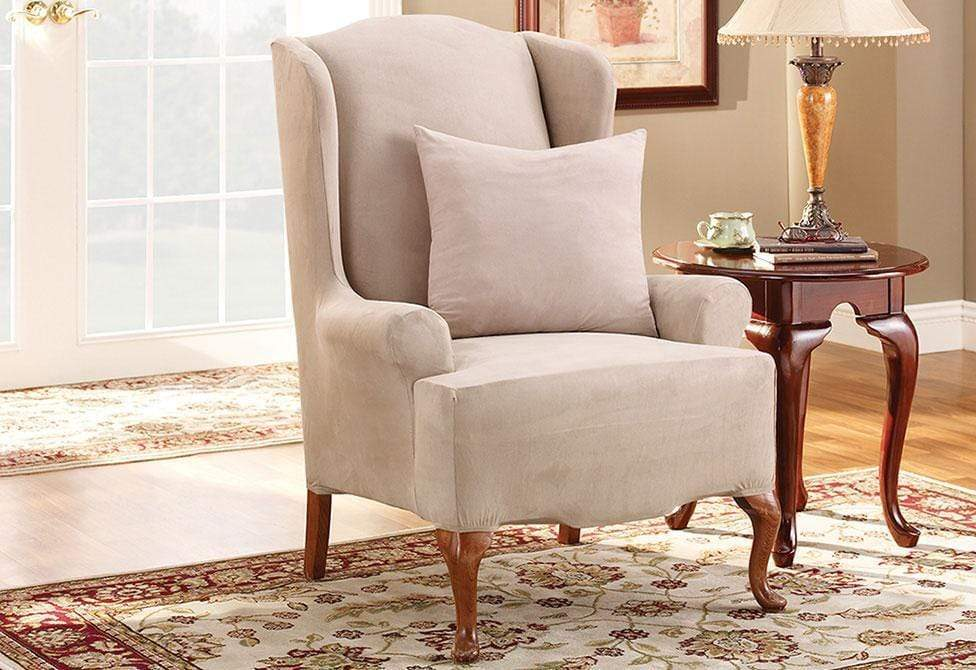 Stretch Suede One Piece Wing Chair Slipcover