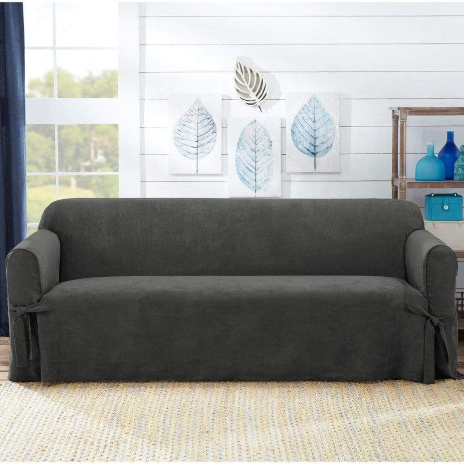 Sueded Twill Sofa Slipcover Gray