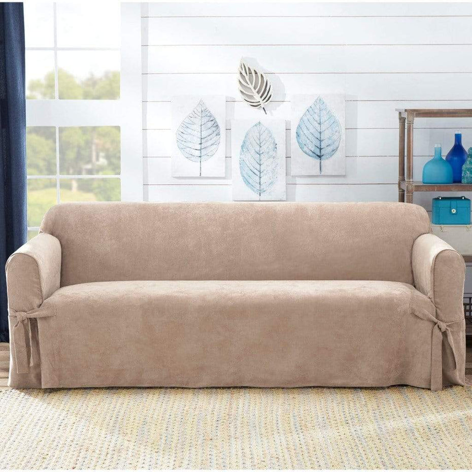 Sueded Twill Sofa Slipcover Taupe