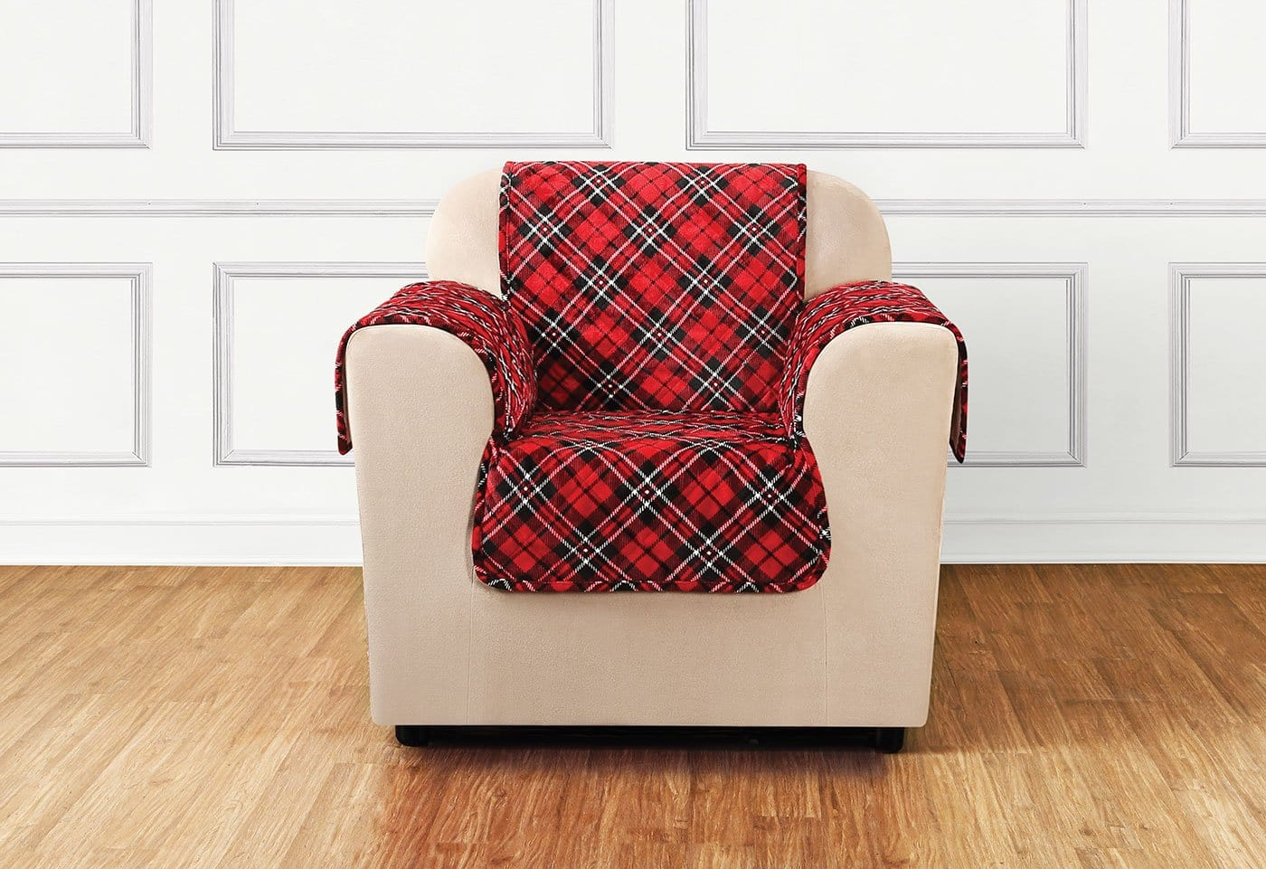 Holiday Chair Furniture Cover 100% Polyester Pet Furniture Cover Machine Washable - Chair / Tartan Plaid