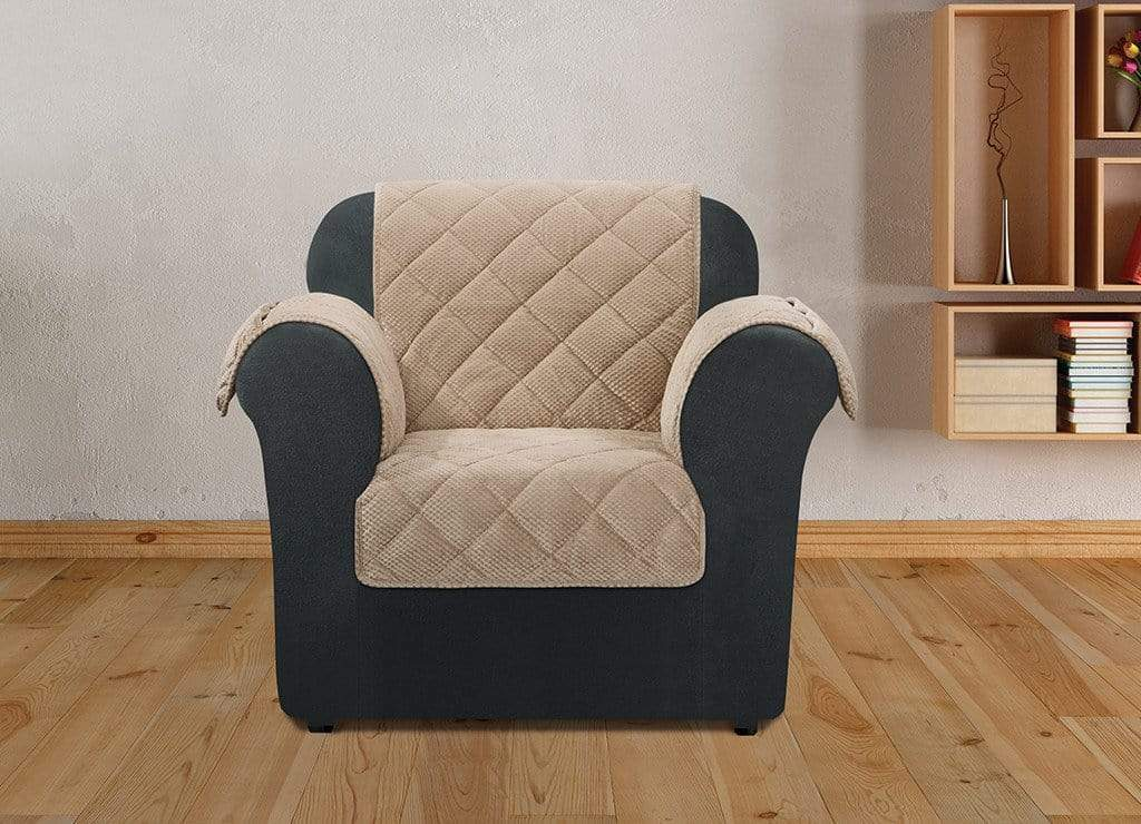 Textured Pique Quilted Chair Furniture Cover  Taupe