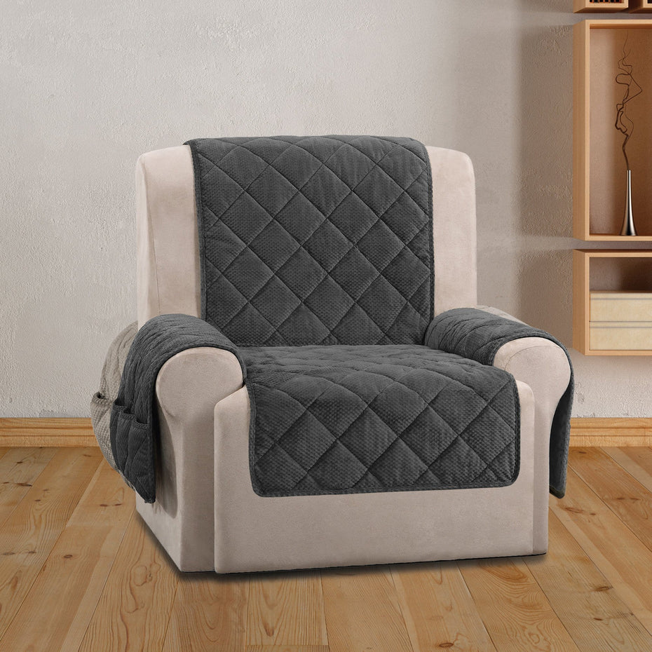 Textured Pique Recliner Furniture Cover Deep Gray