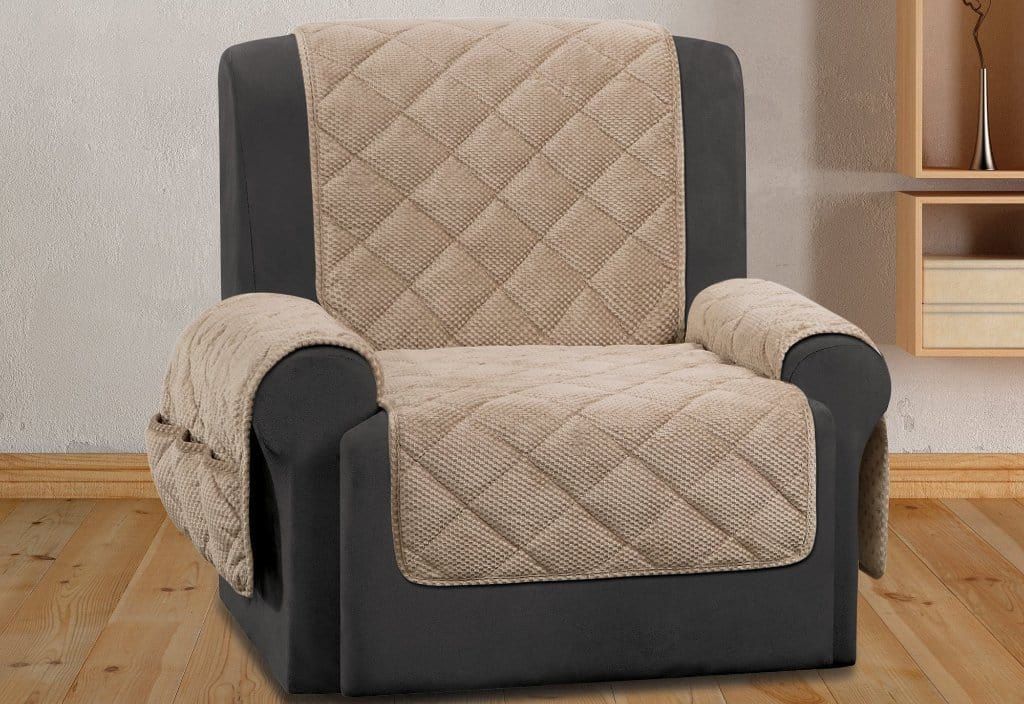 Textured Pique Recliner Furniture Cover Taupe