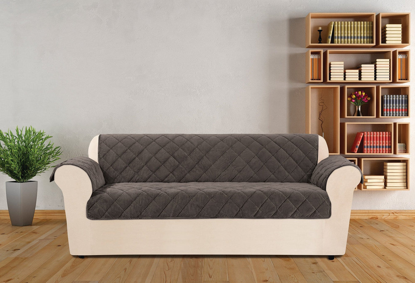 Textured Pique Sofa Furniture Cover Deep Gray