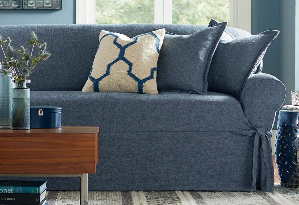 ... Textured Linen One Piece Sofa Slipcover