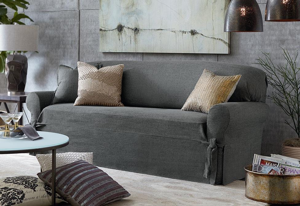 ... Textured Linen One Piece Sofa Slipcover ...