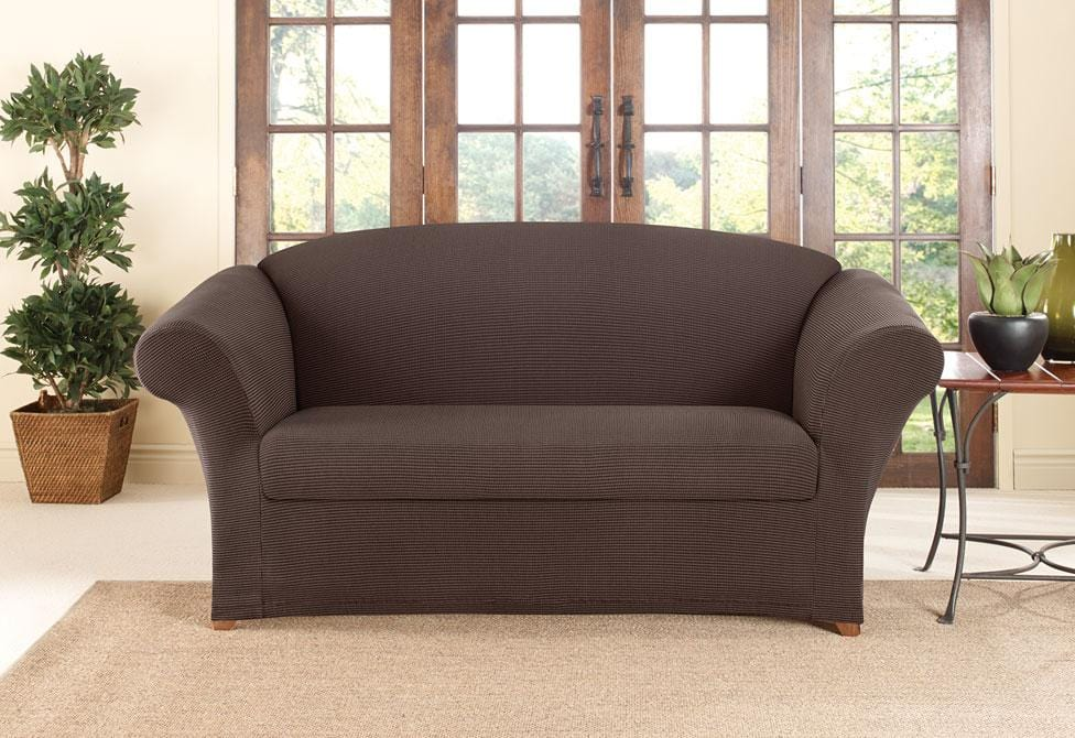 Two Tone Stretch Honeycomb Two Piece Loveseat Slipcover