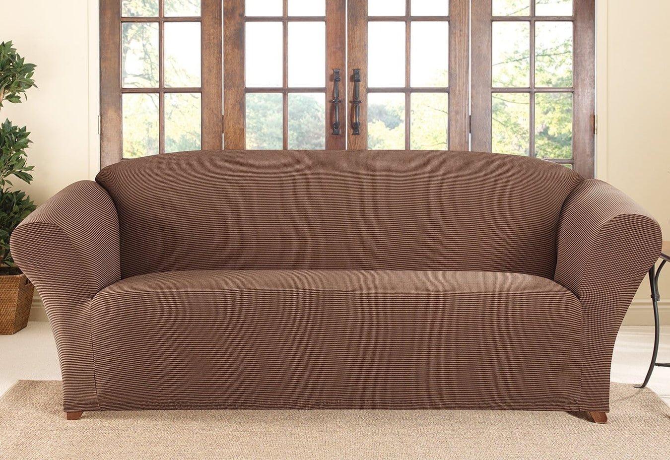 Two Tone Stretch Honeycomb One Piece Sofa Slipcover