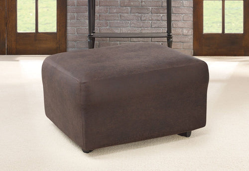 Ultimate Heavyweight Stretch Leather One Piece Ottoman Slipcover