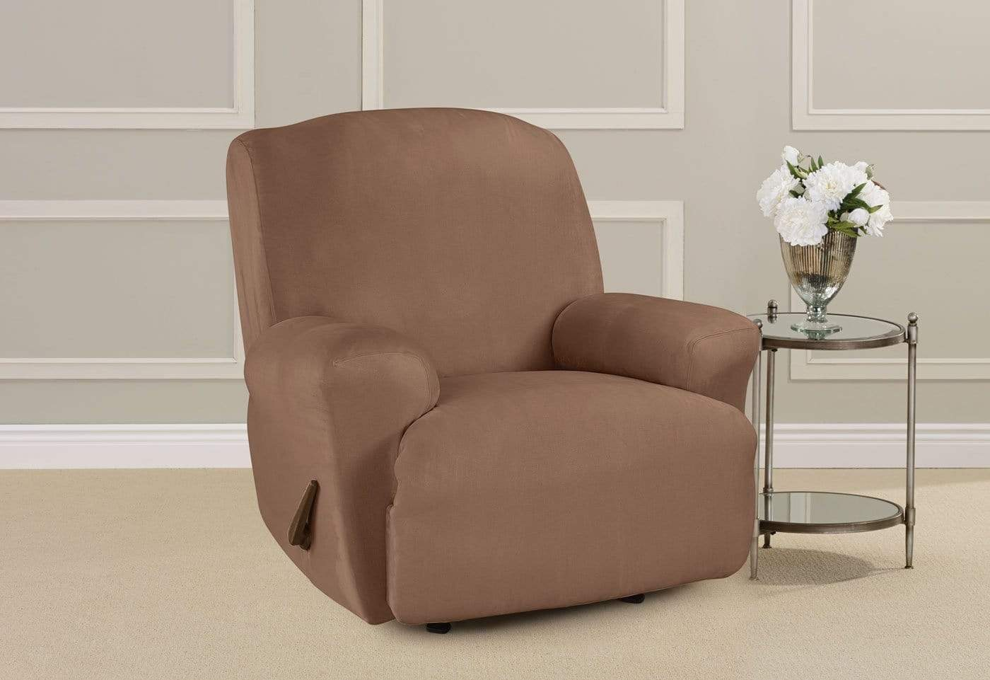 ... Ultimate Heavyweight Stretch Suede One Piece Recliner Slipcover