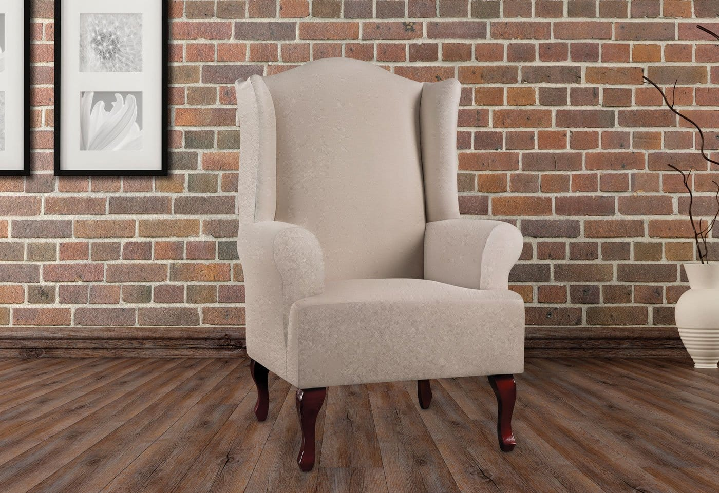 ... Ultimate Heavyweight Stretch Leather One Piece Wing Chair Slipcover ...