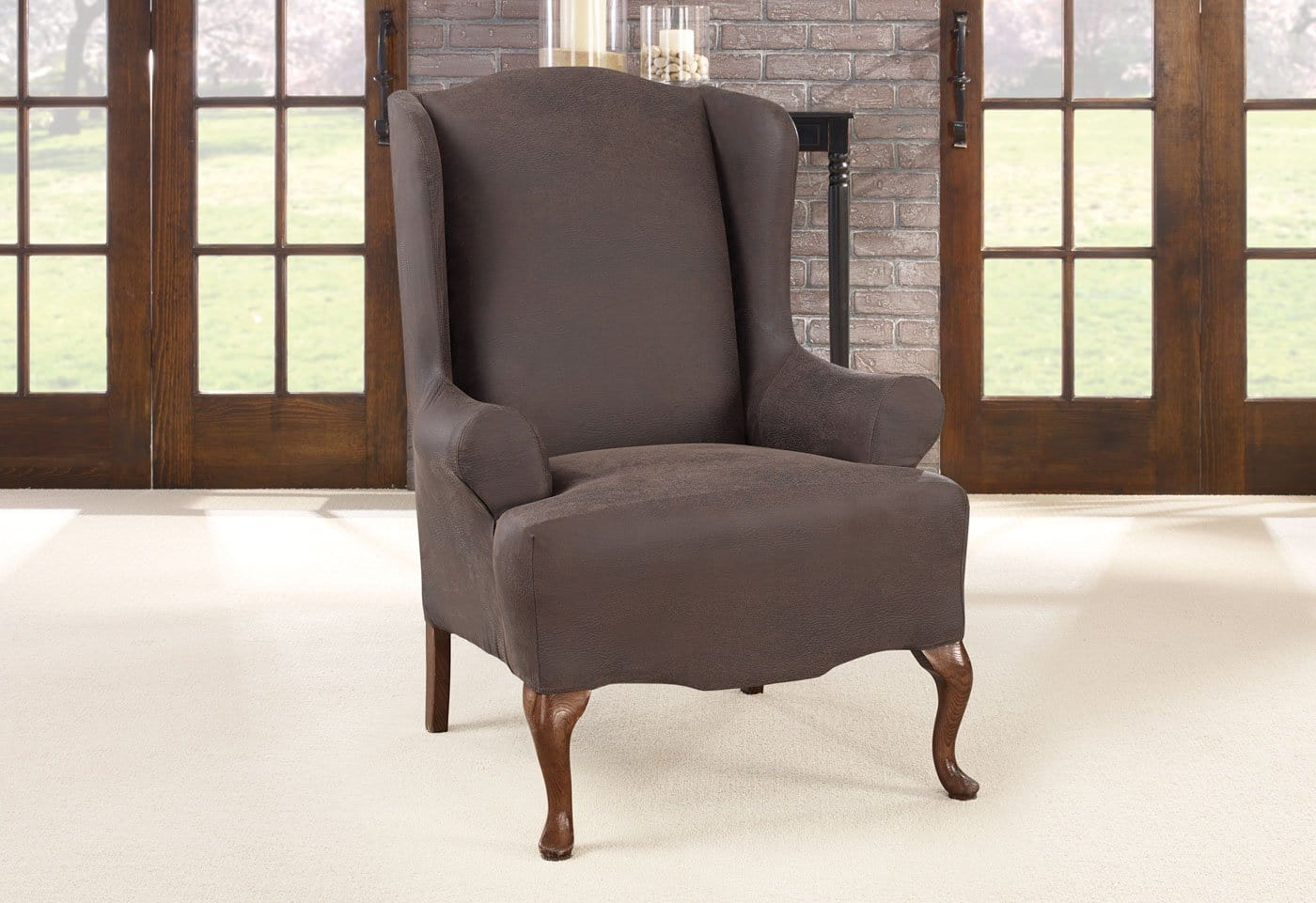 Superieur Ultimate Heavyweight Stretch Leather One Piece Wing Chair Slipcover