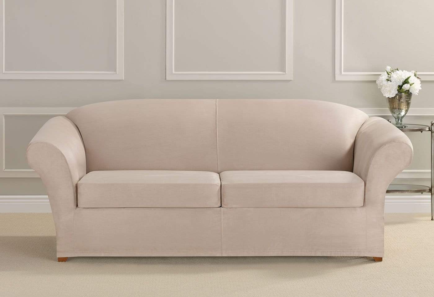 Exceptionnel ... Ultimate Heavyweight Stretch Suede Three Piece Sofa Slipcover ...