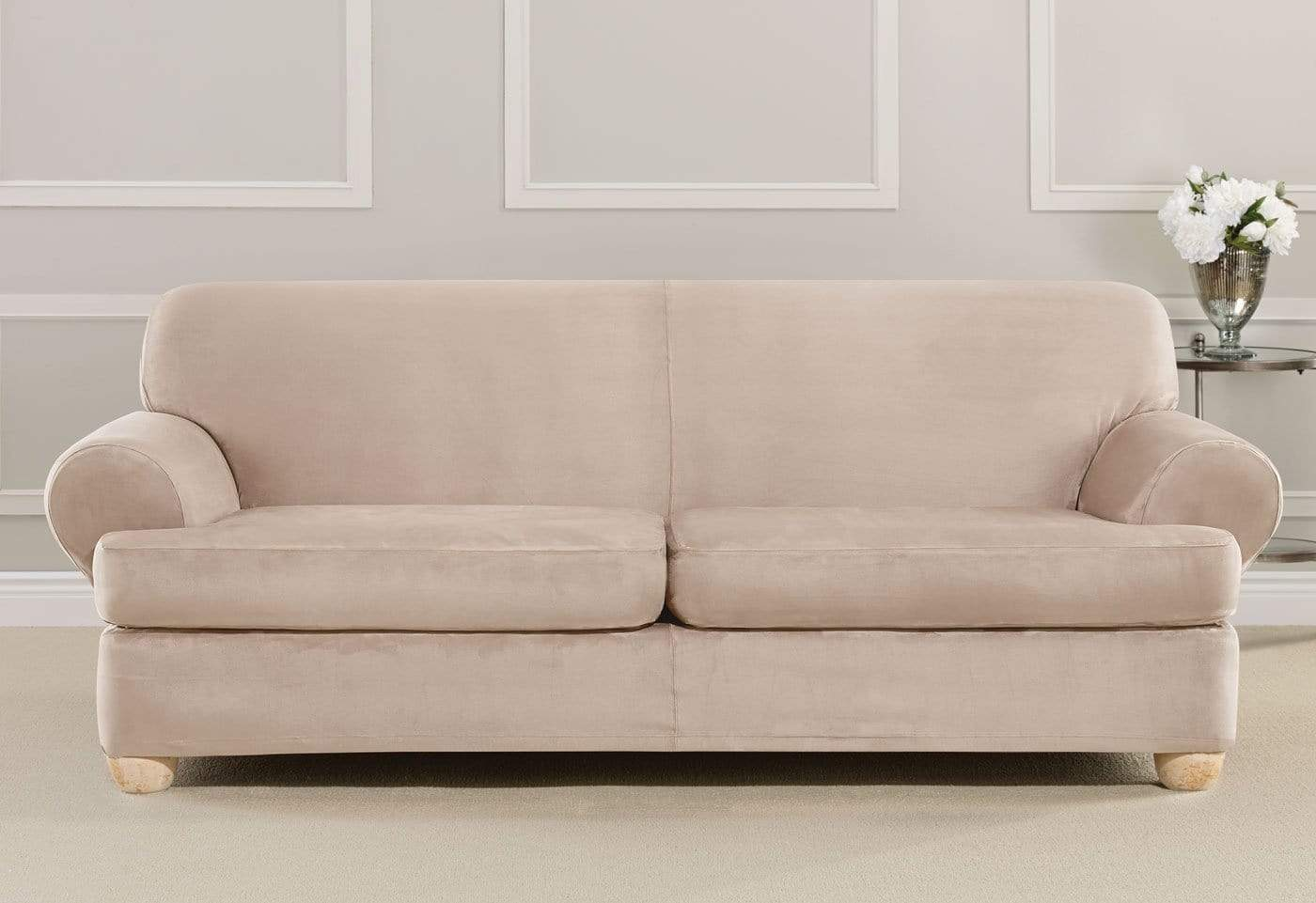 ... Ultimate Heavyweight Stretch Suede Three Piece Sofa Slipcover ...