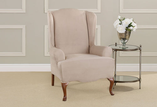Ultimate Heavyweight Stretch Suede One Piece Wing Chair Slipcover