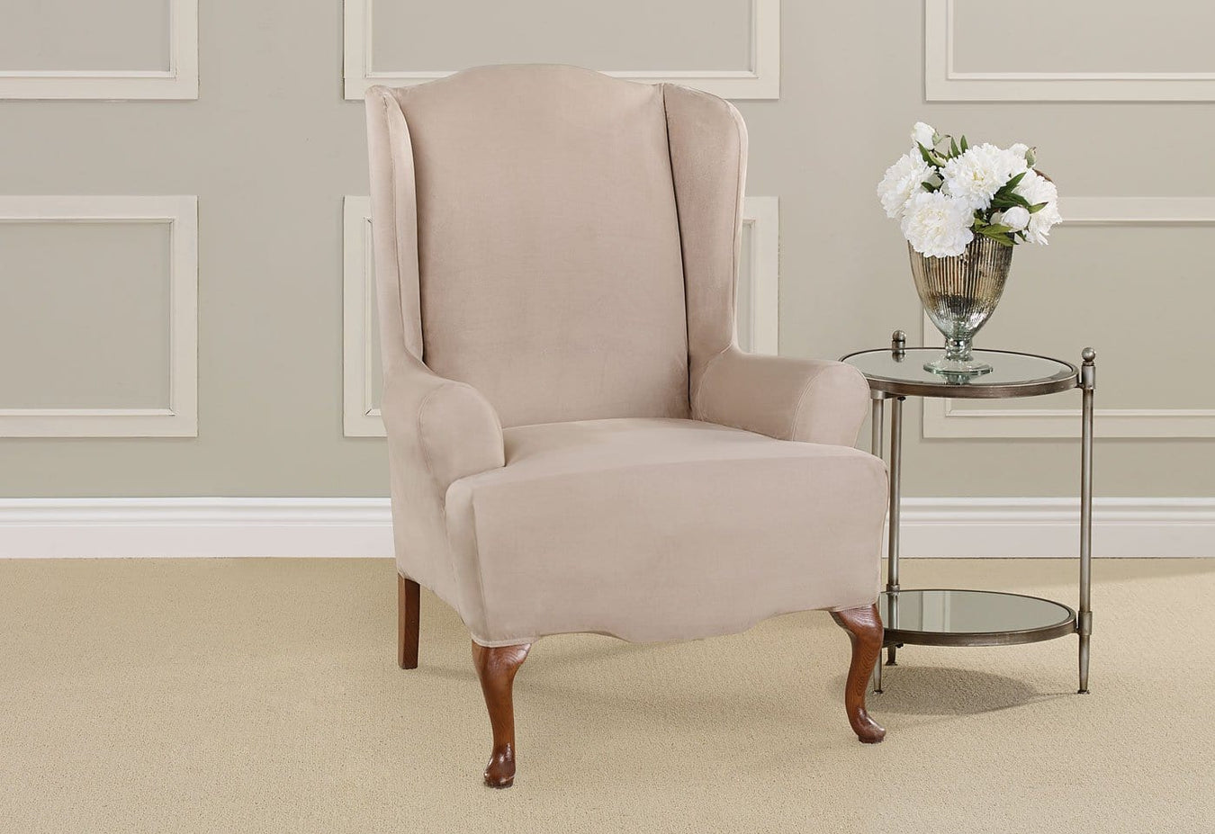 Ultimate Stretch Suede One Piece Wing Chair Slipcover