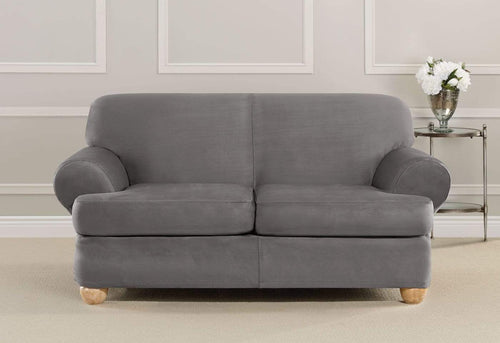 Ultimate Heavyweight Stretch Suede Three Piece Loveseat Slipcover