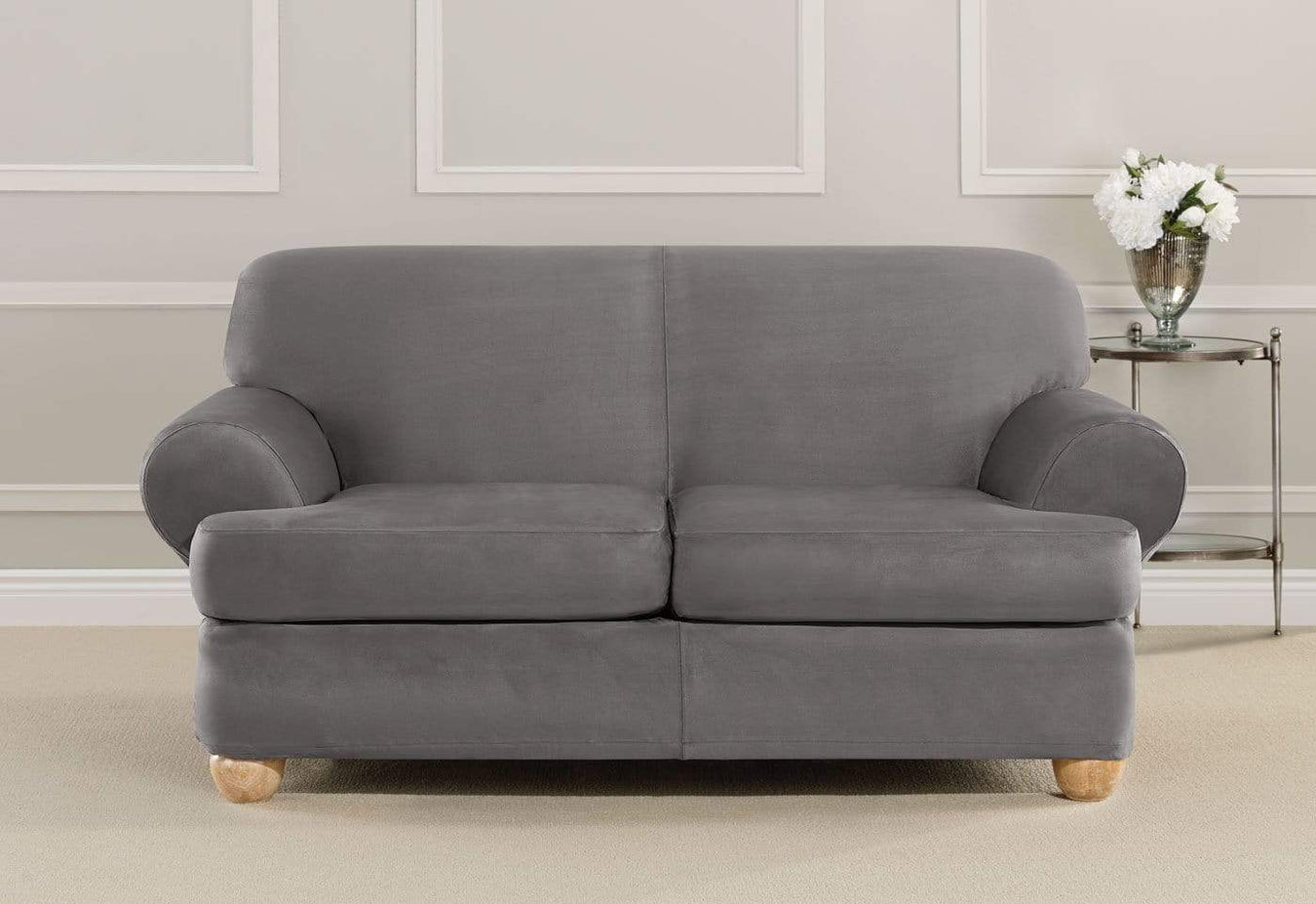 Ultimate Stretch Suede Three Piece Loveseat Slipcover