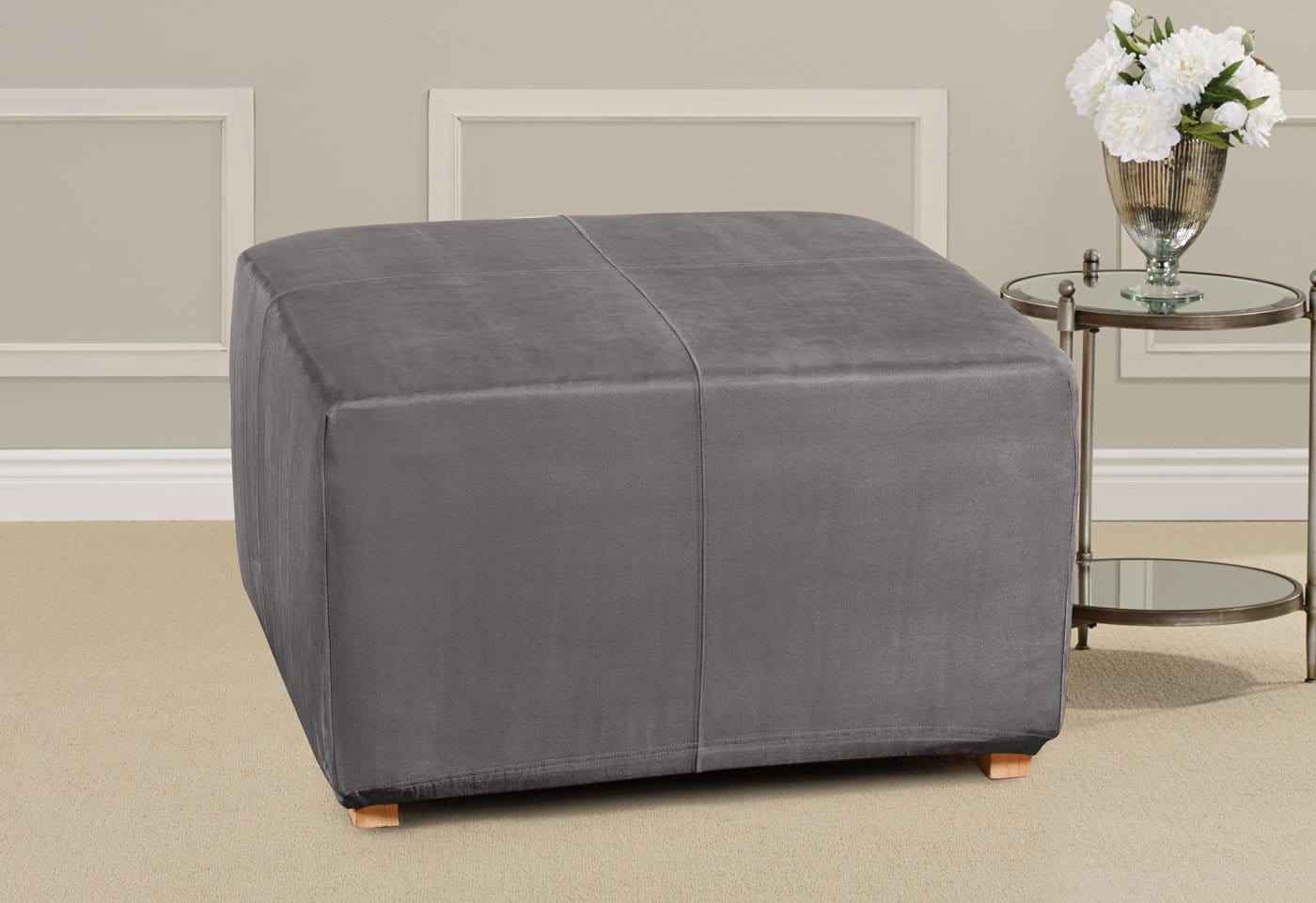 Ultimate Heavyweight Stretch Suede One Piece Ottoman Slipcover