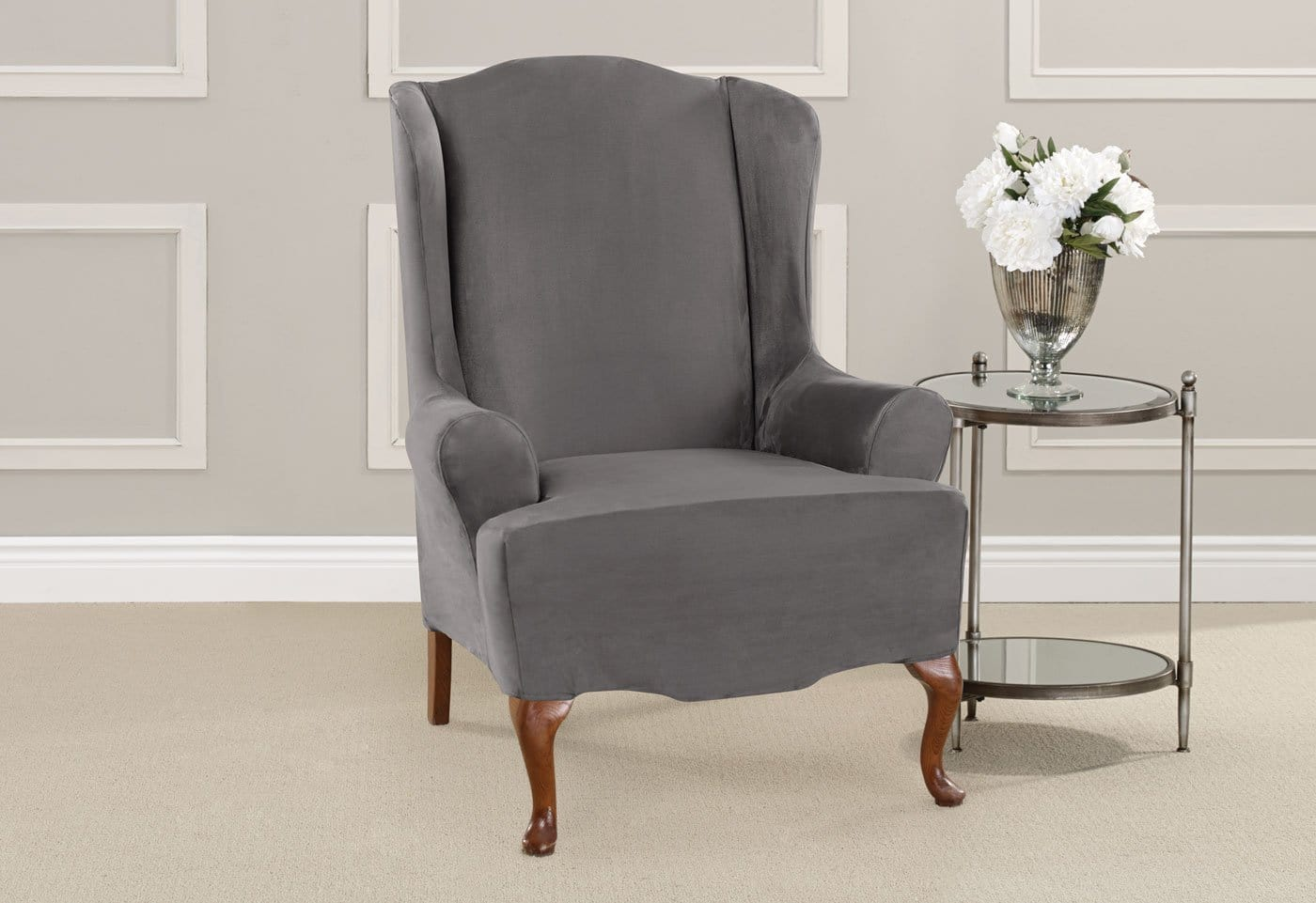 Attrayant ... Ultimate Heavyweight Stretch Suede One Piece Wing Chair Slipcover ...