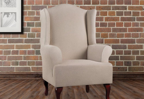 Ultimate Heavyweight Stretch Leather One Piece Wing Chair Slipcover Pebbled Ivory