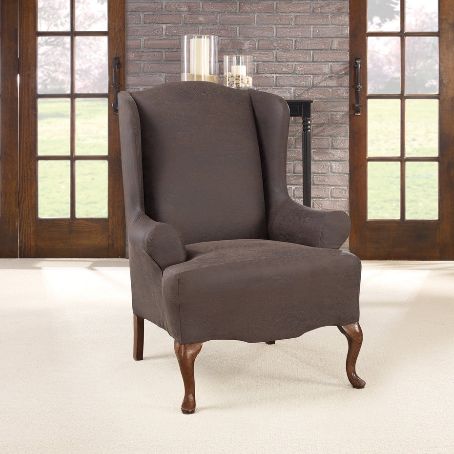 Ordinaire Ultimate Stretch Leather One Piece Wing Chair Slipcover ...