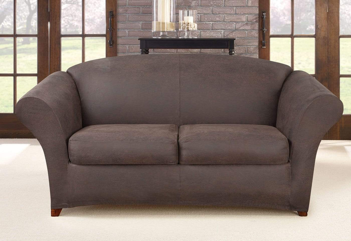 Ultimate Heavyweight Stretch Leather Three Piece Loveseat Slipcover Weathered Saddle