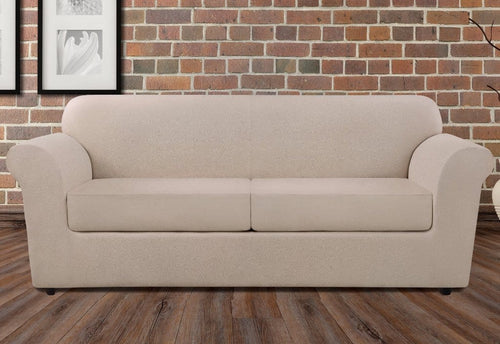 Ultimate Heavyweight Stretch Leather Three Piece Sofa Slipcover Pebbled Ivory
