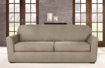 2pc Stretch Fabric Form Fit Solid GREY Couch//Sofa Loveseat Cover Set 72-92inch