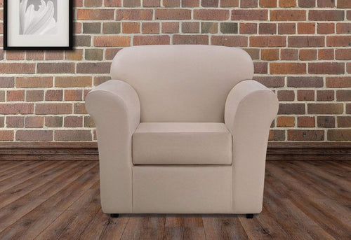 Ultimate Heavyweight Stretch Leather Two Piece Chair Slipcover Pebbled Ivory