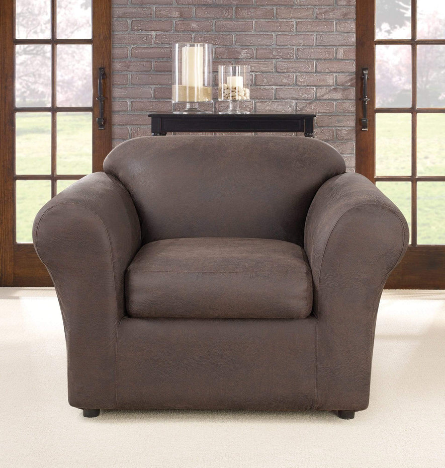 Ultimate Heavyweight Stretch Leather Two Piece Chair Slipcover Weathered Saddle