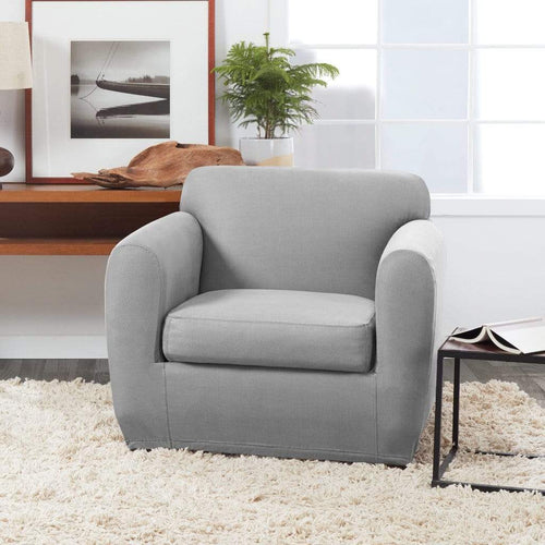 Ultimate Stretch Leather Slipcover Pebbled Gray